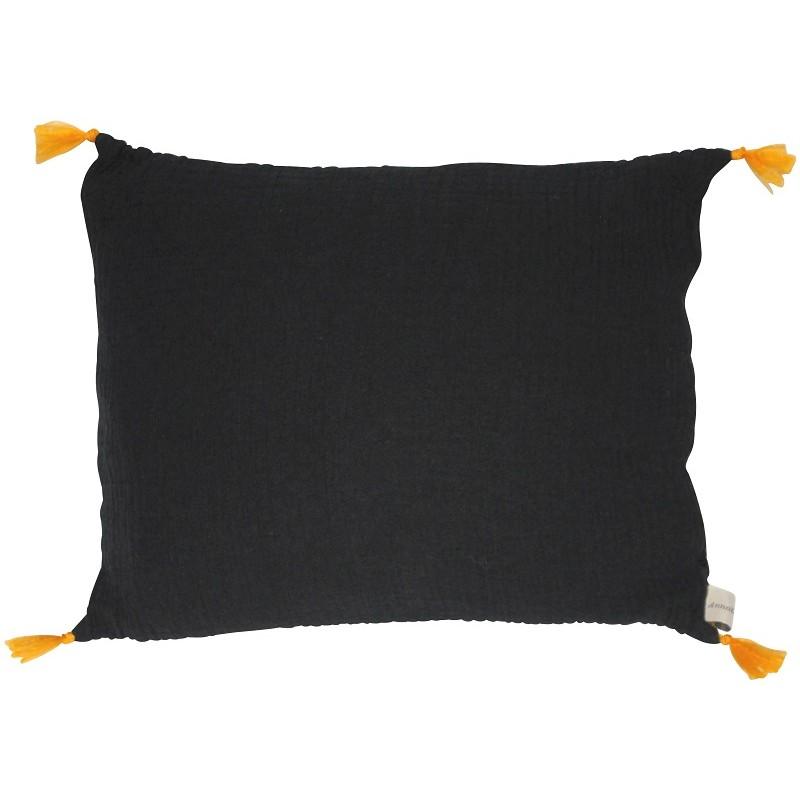 Coussin rectangulaire Boho noir à pompons Annabel Kern