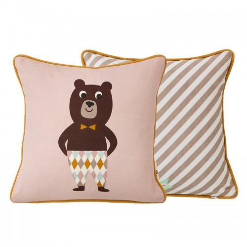 Coussin carré rose ours avec passepoil Ferm Living