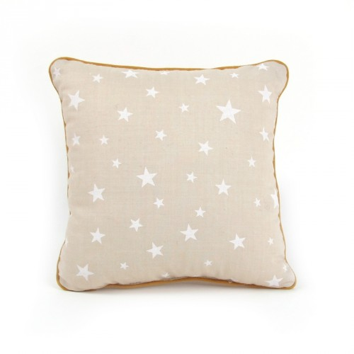 Coussin carré Joe beige motifs étoiles Nobodinoz