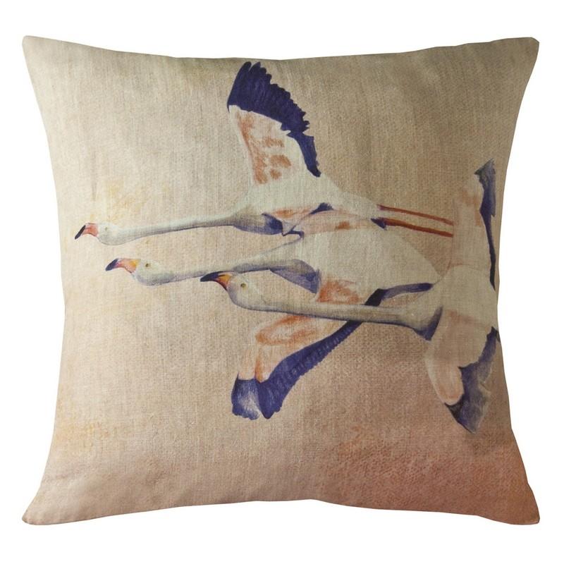 housse de coussin carr e flamingo rose en lin maison l vy coussins shop. Black Bedroom Furniture Sets. Home Design Ideas