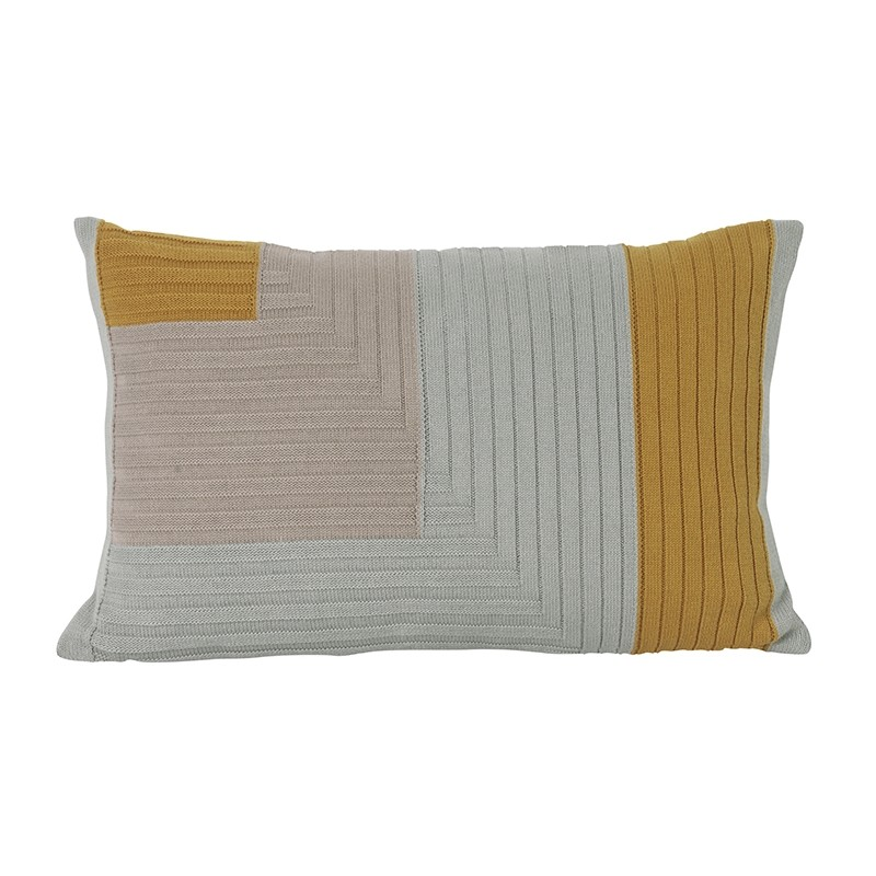 coussin rectangulaire angle knit jaune curry ferm living coussins shop. Black Bedroom Furniture Sets. Home Design Ideas