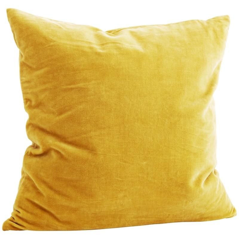 Housse de coussin carrée jaune Madam Stoltz