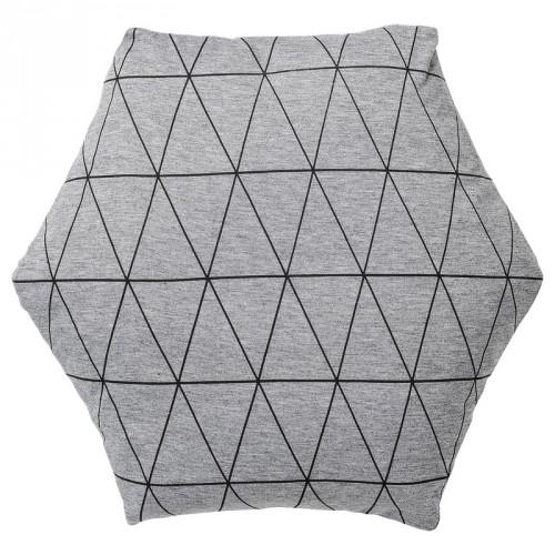 Coussin hexagonal gris motifs géométriques Bloomingville
