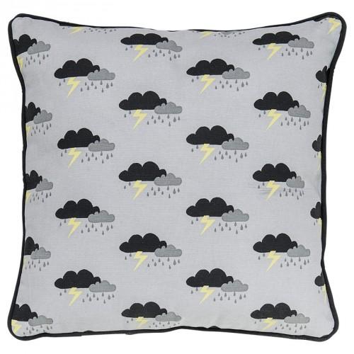 Coussin carré gris motifs orage avec passepoil noir Bloomingville