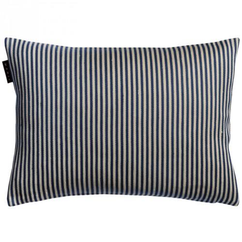 Housse de coussin rectangulaire Calcio gris et bleu rayé Linum