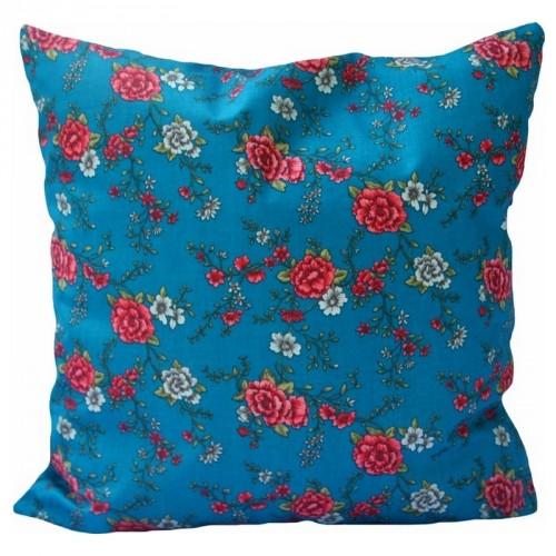 Coussin carré Mary bleu azur motif fleuri A.U Maison