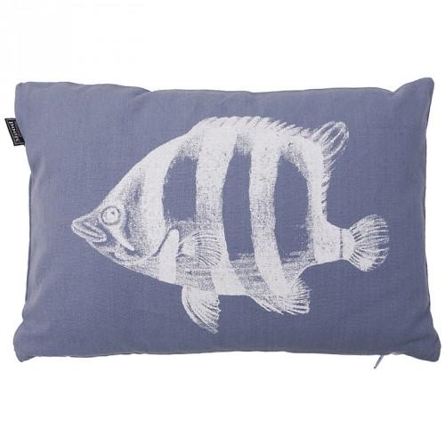 Housse de coussin rectangulaire bleu motif poisson In The Mood