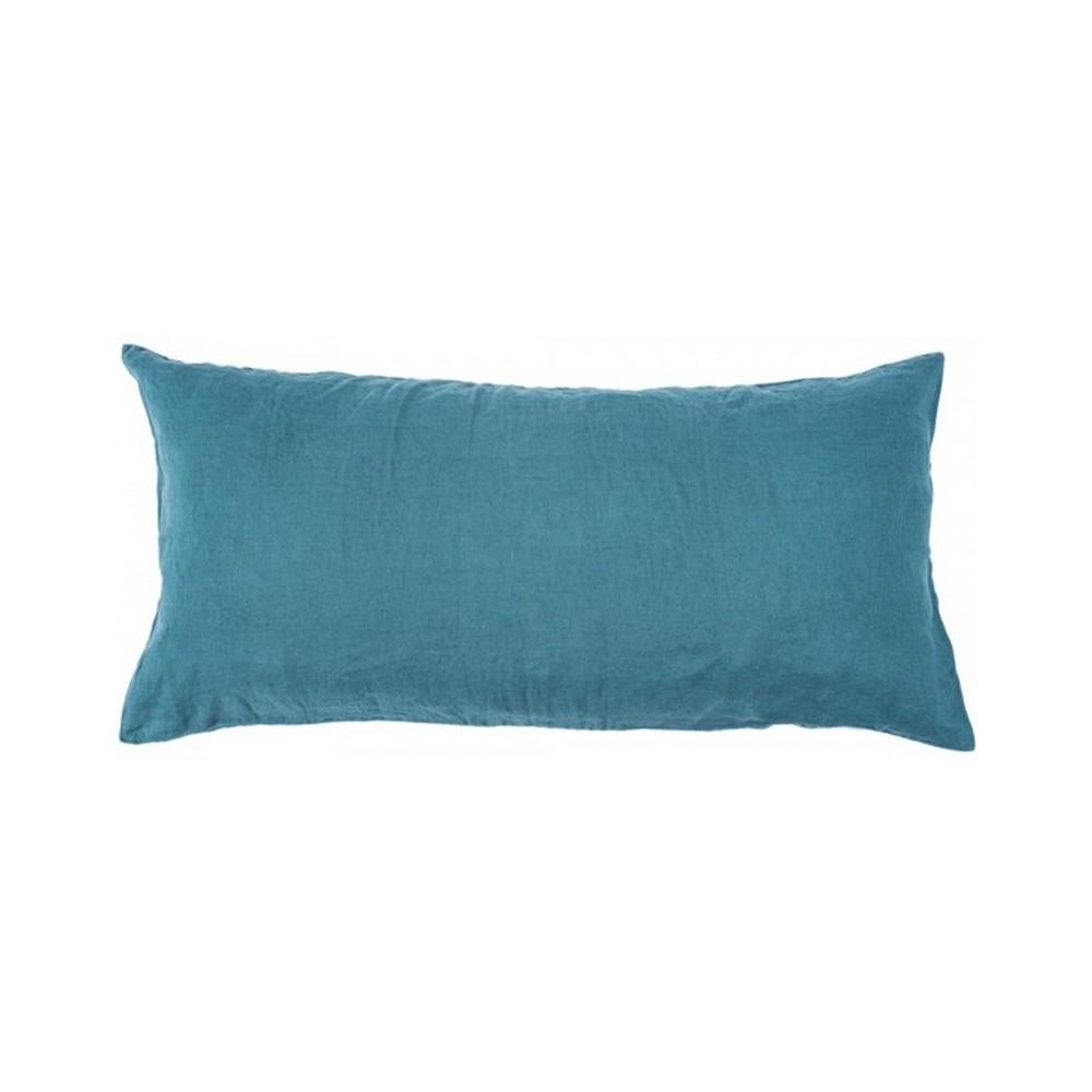 housse de coussin bleu paon rectangulaire en lin lav harmony coussins shop. Black Bedroom Furniture Sets. Home Design Ideas