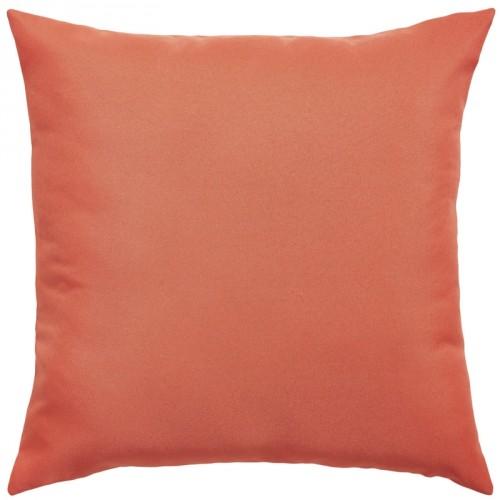 Coussin carré rose corail uni en coton