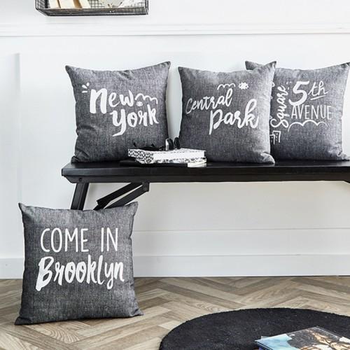 Coussin carré gris New York en coton
