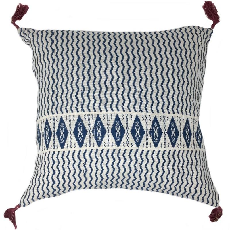 housse de coussin carr e babette bleu et blanc jamini. Black Bedroom Furniture Sets. Home Design Ideas