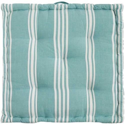 Coussin de sol carré Rodas bleu et blanc Calma House