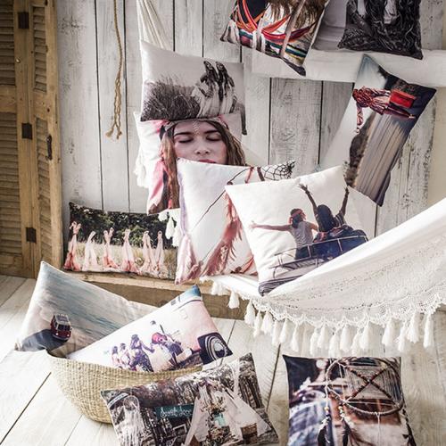 Coussin carré Hippie Chic modèle attrape-rêve