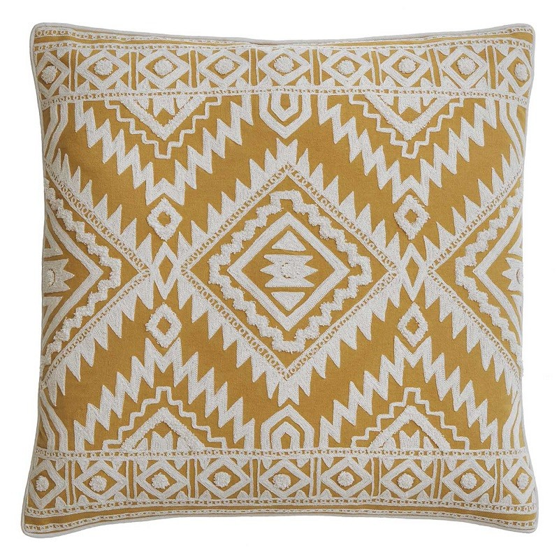 housse de coussin carr e jaune moutarde motifs ethniques bungalow coussins shop. Black Bedroom Furniture Sets. Home Design Ideas