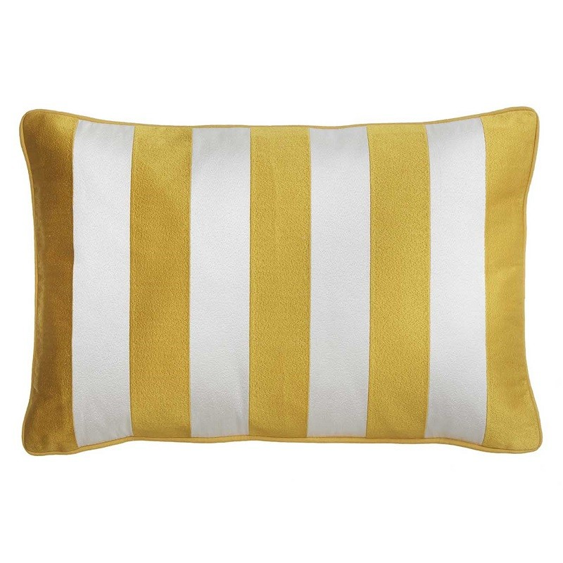 housse de coussin rectangulaire blanc et jaune moutarde ray bungalow coussins shop. Black Bedroom Furniture Sets. Home Design Ideas