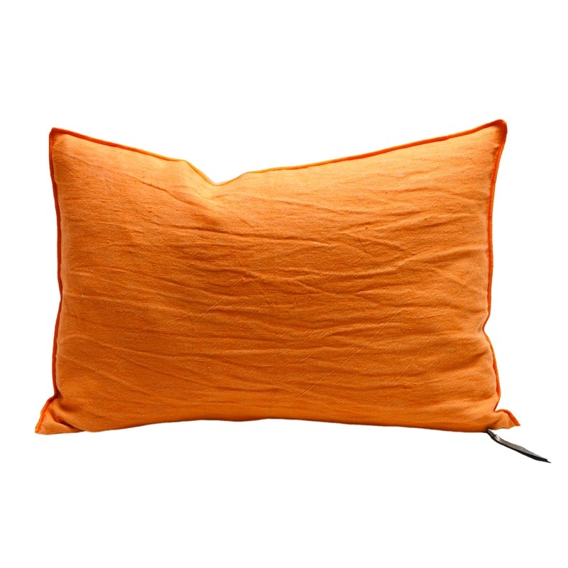 coussin rectangulaire orange vitamin en lin maison de vacances coussins shop. Black Bedroom Furniture Sets. Home Design Ideas