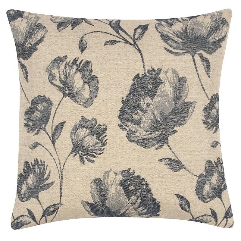 housse de coussin carr e beige et bleu motifs fleurs pad concept coussins shop. Black Bedroom Furniture Sets. Home Design Ideas