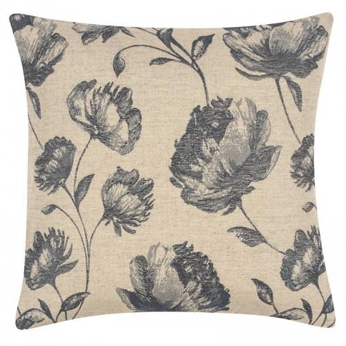 Housse de coussin carrée beige et bleu motifs fleurs PAD Concept