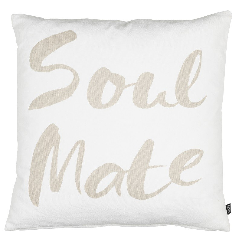 Coussin carré blanc et taupe Soulmate Eightmood