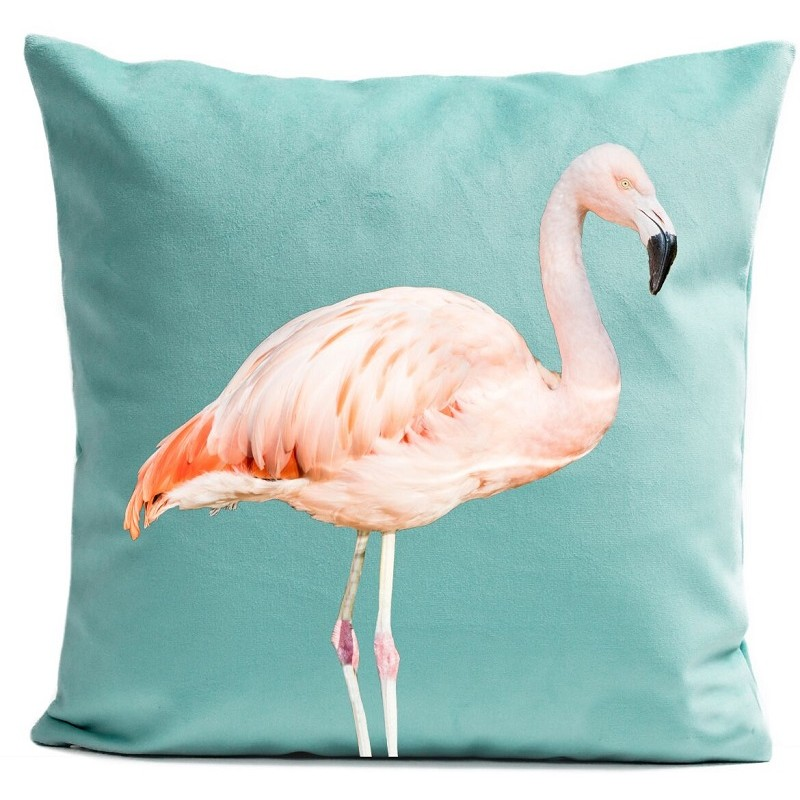 housse de coussin animal vert d 39 eau flamant rose artpilo. Black Bedroom Furniture Sets. Home Design Ideas