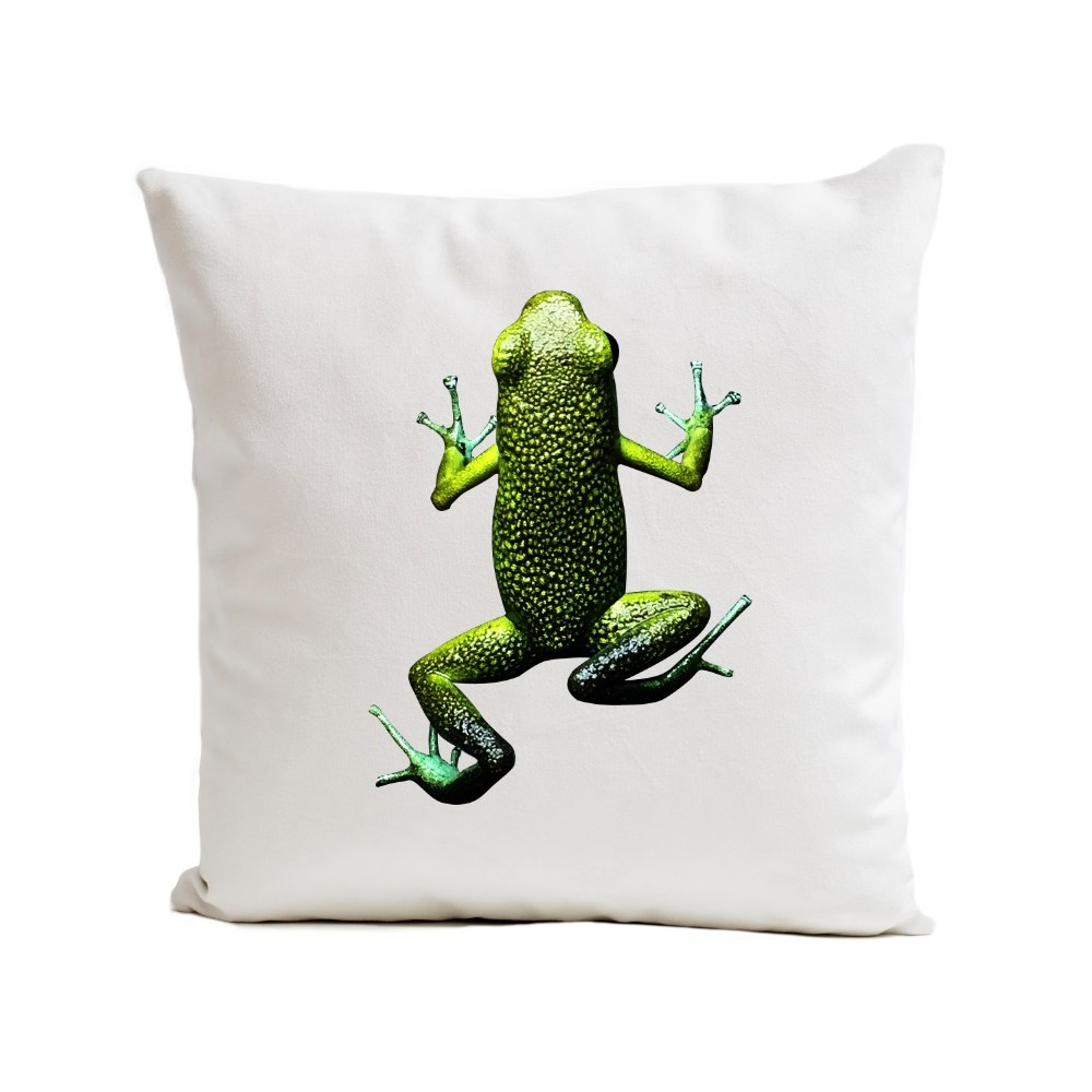 housse de coussin animal blanc grenouille artpilo coussins shop. Black Bedroom Furniture Sets. Home Design Ideas
