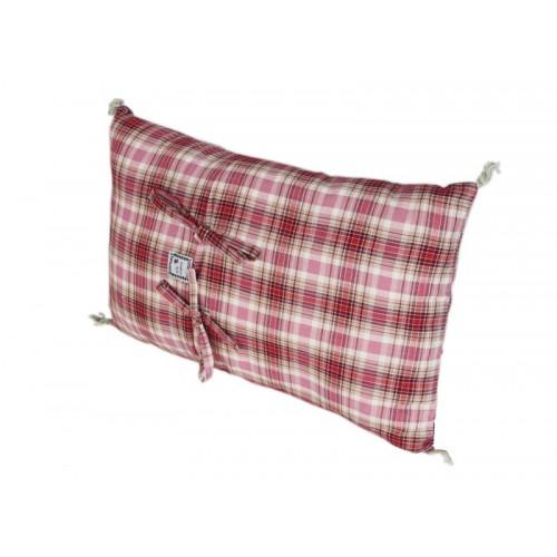 Coussin rectangulaire madras rose En fil d'indienne